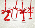 New year red ribbon greeting card Royalty Free Stock Image