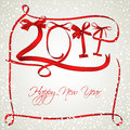 New year red ribbons greeting card Royalty Free Stock Images