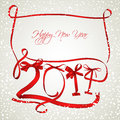 New year red ribbons greeting card Royalty Free Stock Image