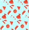 New year red and white objects pattern sweets seamless on blue background