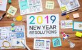 2019 new year resolutions with business digital marketing and paperwork sketch on wood table.analysis strategy concepts Royalty Free Stock Photo