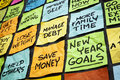 New year resolutions goals or colorful sticky notes on a blackboard Royalty Free Stock Photos
