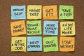 New year resolutions popular colorful sticky notes on a cork board Stock Images