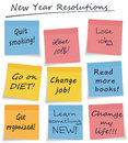 New year resolutions style sticky notes assorted fond hopes or general self improvement actions each note easily separable for Royalty Free Stock Photo