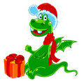 New Year's dragon with a gift Stock Image