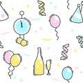 New Year`s Eve celebration seamless pattern