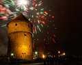 New year s fireworks near kiek in de kok tower in tallinn estonia Royalty Free Stock Photo