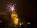New year s fireworks near kiek in de kok tower in tallinn estonia Stock Photos