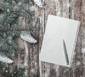 New year`s greeting card on old wood background with space where you can leave a message for Santa. Royalty Free Stock Photo