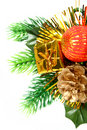 New Year's ornament in the form of a branch with cone Stock Photography