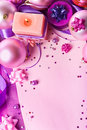 New Year's still-life in violet tones (top view) Royalty Free Stock Images