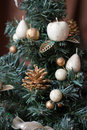 New year s toys on a fir tree green Stock Images