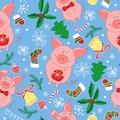 New Year`s vector seamless pattern with pigs.Vector seamless pattern of Happy New Year and Christmas Day. Seamless pattern of do