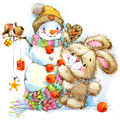 New year santa bunny background congratulations watercolor illustration Royalty Free Stock Images