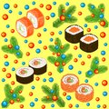 New Year seamless pattern. Sushi, rolls and branches of the Christmas tree, decorated with bright balls. Suitable for packing