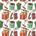 New year seamless pattern on white background