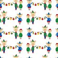 New year seamless pattern with yellow pigs and Christmas toy on a white background. Royalty Free Stock Photo