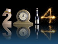 New year set up of golden digit two table clock bottle of champagne and digit four created from burning sparkler all with mirror Royalty Free Stock Images
