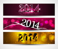 New year for shiny colorful headers and banners set design Stock Photo