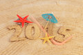 New year sign on the sand Stock Photos