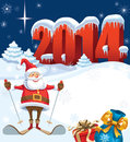 New year and skiing santa with gifts christmas decoration ready for your message Stock Photo