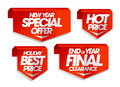 New year special offer, hot price, holiday best price, end of year final clearance sale tags. Royalty Free Stock Photo
