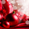New Year spheres on a red fabric Royalty Free Stock Photo