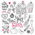 New Year sweets set. Christmas hand drawn collection with cocoa, gingerbread house and champagne Royalty Free Stock Photo
