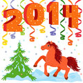 New year and symbol of year a horse composition running hand drawing vector illustration Stock Image