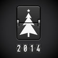 New year symbols on scoreboard tree and number Royalty Free Stock Photo