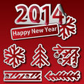 New year symbols set design elements Royalty Free Stock Image
