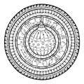 New Year theme. Doodle christmas ball on ethnic circle ornament. Royalty Free Stock Photo