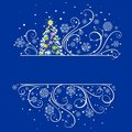 New Year tree on a dark blue background Stock Photo
