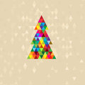 New Year tree from multi-colored triangles Royalty Free Stock Photo