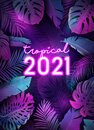 New Year tropical leaves design, Neon disco tropic party vector poster, Christmas summer holiday flyer Royalty Free Stock Photo