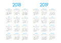 New year 2018 and 2019 vector calendar modern simple design Royalty Free Stock Photo