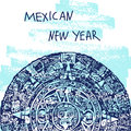 New Year Vector Illustration. World Famous Landmarck Series: Mexico,Mayan calendar, Maya. Mexican New Year Royalty Free Stock Photo