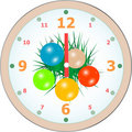 New Year wall clock congratulation card. vector Royalty Free Stock Images