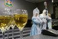 New year wine glasses with champagne closeup nadym russia december premises unknown man dressed as santa claus unknown girl Royalty Free Stock Photo