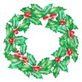 A New Year wreath with watercolor green branches of holly