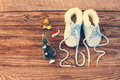 2017 new year written laces of children`s shoes, christmas decorations Royalty Free Stock Photo