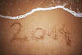 New year written on the sand Stock Photos