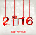 2016 New Years background with gift. Royalty Free Stock Photo