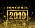 New years 2019 GOLD on black background