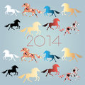 New years background with horses bright festive on a light blue Royalty Free Stock Photo