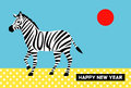 New years card year of the horse zebra and the sun design file Stock Photos