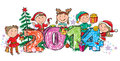 New years children contains transparent objects eps Royalty Free Stock Image