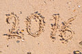 New Years 2016 concept; 2016 on the sand background Texture Royalty Free Stock Photo