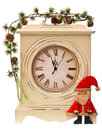 New years decoration with clock and santa claus isolated on white background Royalty Free Stock Photo