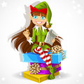 New Years elf ready to record wishes Royalty Free Stock Image